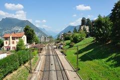 Kolej w mieście Lugano Zdjęcie Royalty Free