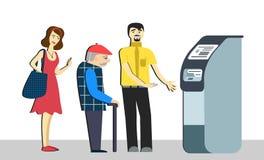 Kolejka przy ATM Zdegustowani ludzie stoją w linii dla odosobnionego tła Starszy mężczyzna w kolejce śmiertelnie maszynowy bank d Zdjęcie Royalty Free