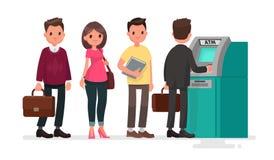 Kolejka przy ATM Zdegustowani ludzie stoją w linii dla Zdjęcie Stock