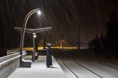 Kolejowa podstacja przy zimy nocą Obraz Royalty Free