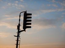 Kolejowa signalisation światła ruchu sylwetka Zdjęcie Stock