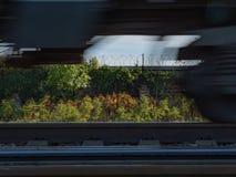 Kolejowe poręcza ruchu pociągu kół wiosny przyśpieszają obracanie z obrazy royalty free