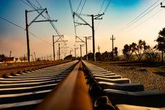 Kolejowego śladu linii kolejowej pociągu transport fotografia stock
