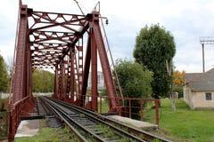 Kolejowego mosta czerwień Obrazy Royalty Free