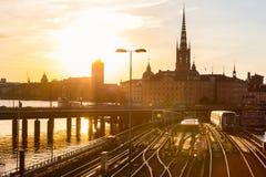 Kolejowi ślada i pociągi w Sztokholm, Szwecja Obrazy Stock