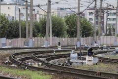 Kolejowi ślada i infrastruktury pobliski stacyjny Terminus Obraz Stock