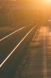 Kolejowi ślada przy zmierzchem Fotografia Stock