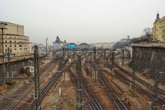 Kolejowi ślada w Praga Zdjęcia Stock