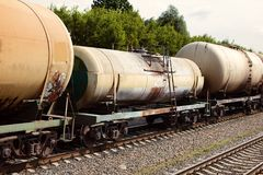 Kolejowi zbiorniki różne pojemność i purposes zdjęcie royalty free