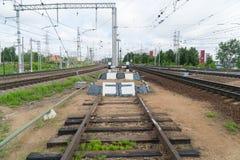 Kolejowy impas Końcówka kolejowy ślad fotografia stock