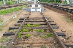 Kolejowy impas Końcówka kolejowy ślad fotografia royalty free