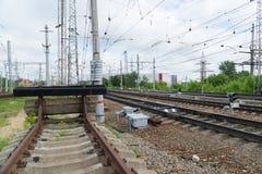 Kolejowy impas Końcówka kolejowy ślad obrazy stock