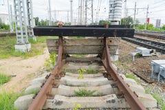Kolejowy impas Końcówka kolejowy ślad obraz stock