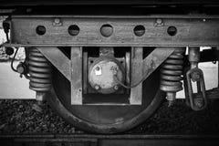 Kolejowy kareciany koło z zawieszenie szczegółami Zdjęcie Stock