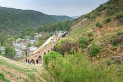 Kolejowy most blisko Bisheh wioski Iran Obraz Stock