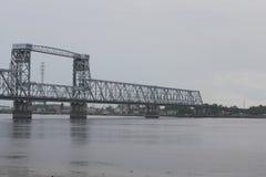 Kolejowy most nad rzeką Fotografia Royalty Free