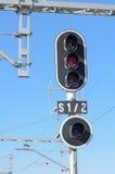 Kolejowy semafor Fotografia Royalty Free