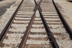 Kolejowy złącze Linia kolejowa poręcze Zdjęcia Royalty Free
