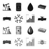 Kolejowy zbiornik, chemiczna formuła, ceny ropy mapa, rurociąg klapa Oliwi ustalone inkasowe ikony w czarnym, monochromu styl royalty ilustracja