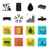 Kolejowy zbiornik, chemiczna formuła, ceny ropy mapa, rurociąg klapa Oliwi ustalone inkasowe ikony w czerni, fleta stylowy wektor ilustracja wektor