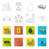 Kolejowy zbiornik, chemiczna formuła, ceny ropy mapa, rurociąg klapa Oliwi ustalone inkasowe ikony w konturze, mieszkanie stylowy ilustracji