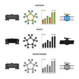 Kolejowy zbiornik, chemiczna formuła, ceny ropy mapa, rurociąg klapa Oliwi ustalone inkasowe ikony w kreskówce, czerń, monochrom royalty ilustracja
