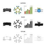 Kolejowy zbiornik, chemiczna formuła, ceny ropy mapa, rurociąg klapa Oliwi ustalone inkasowe ikony w kreskówce, czerni, zarysowyw royalty ilustracja