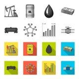 Kolejowy zbiornik, chemiczna formuła, ceny ropy mapa, rurociąg klapa Oliwi ustalone inkasowe ikony w monochromu, mieszkanie styl royalty ilustracja