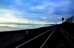 Kolejowych śladów oceanside zdjęcie royalty free