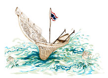 Kolek South of Thailand Boat Cartoon. Kolek a Malayan canoe often rigged with a rectangular sail South of Thailand Boat Cartoon Royalty Free Stock Photo