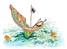 Kolek South of Thailand Boat Cartoon. Kolek (a Malayan canoe often rigged with a rectangular sail) South of Thailand Boat Cartoon Royalty Free Stock Image