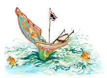 Kolek South of Thailand Boat Cartoon Royalty Free Stock Image