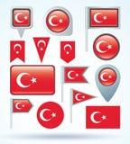 Kolekci flaga Turcja, wektorowa ilustracja Zdjęcia Stock