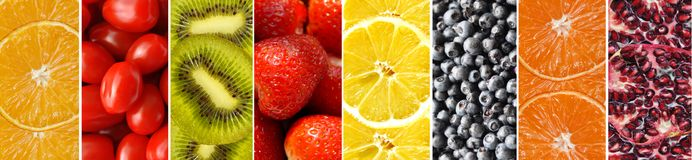 Kolekcj różne owoc, jagody i warzywa, zdjęcie stock