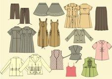 kolekcj ubraniowe kobiety s Obraz Stock