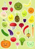kolekcj warzywa owocowi śmieszni Zdjęcie Royalty Free