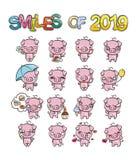 Kolekcja śliczna świniowata charakter ikona ustawiająca z różnymi emocjami Wektorowa ilustracja dla nowych 2019 rok ilustracji