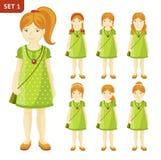 Kolekcja śliczne imbirowe małe dziewczynki z różnymi fryzurami ilustracja wektor