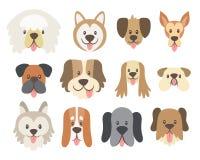 Kolekcja śliczne psie głowy ilustracja wektor
