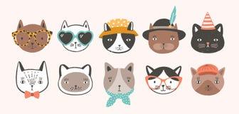 Kolekcja śliczny śmieszny kot stawia czoło być ubranym, przewodzi lub, szkła, okulary przeciwsłonecznych i kapelusze Plik różnoro royalty ilustracja