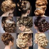Kolekcja ślubne fryzury piękne dziewczyny Zdjęcia Stock