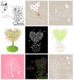 Kolekcja ślubni roczników kartka z pozdrowieniami z parą uroczy ptaki royalty ilustracja
