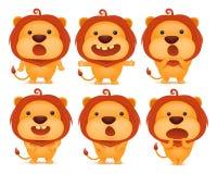 Kolekcja śmieszni lwa emoticon charaktery w różnych emocjach Obraz Stock
