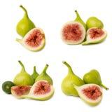 Kolekcja świeże fig owoc odizolowywać na białym tle Fotografia Royalty Free