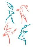 Kolekcja abstrakcjonistyczne kobiety w baletniczej pozie Zdjęcia Stock