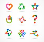 Kolekcja abstrakcjonistyczne kolorowe biznesowe ikony royalty ilustracja