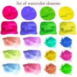 Kolekcja akwarela projekta elementy na różnych kolorach Zdjęcia Royalty Free