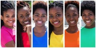 Kolekcja 6 amerykanina afrykańskiego pochodzenia piękna kobieta Obrazy Stock
