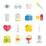 Kolekcja aptek wektorowe płaskie ikony Fotografia Royalty Free