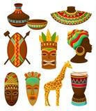 Kolekcja autentyczni symbole Afryka, crockery, broń, maska, bęben z tradycyjnym etnicznym ornamentu wektorem ilustracji